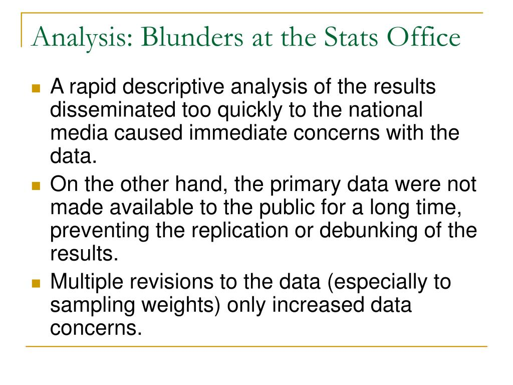 Analysis: Blunders at the Stats Office