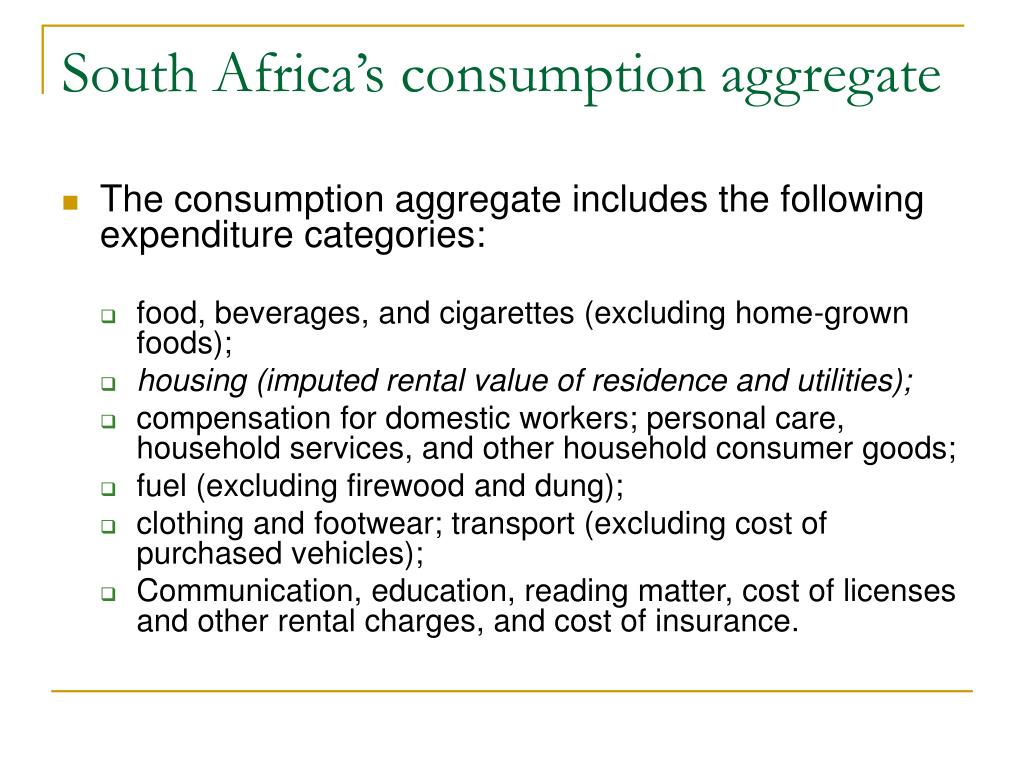 South Africa's consumption aggregate