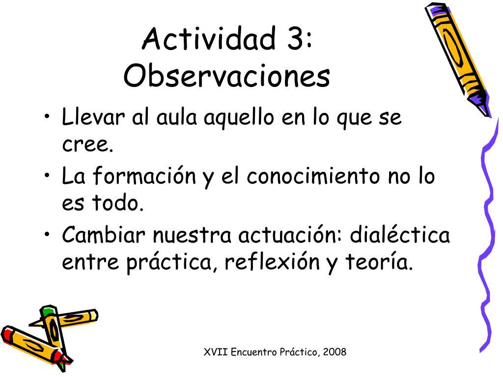 Actividad 3: Observaciones
