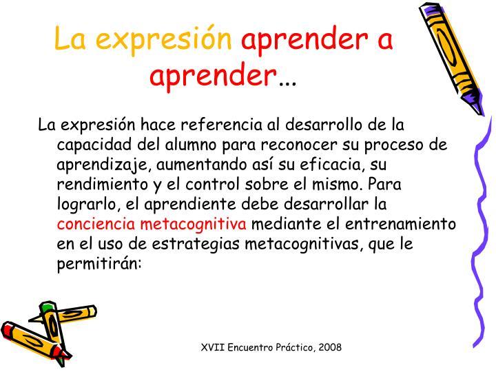 La expresi n aprender a aprender
