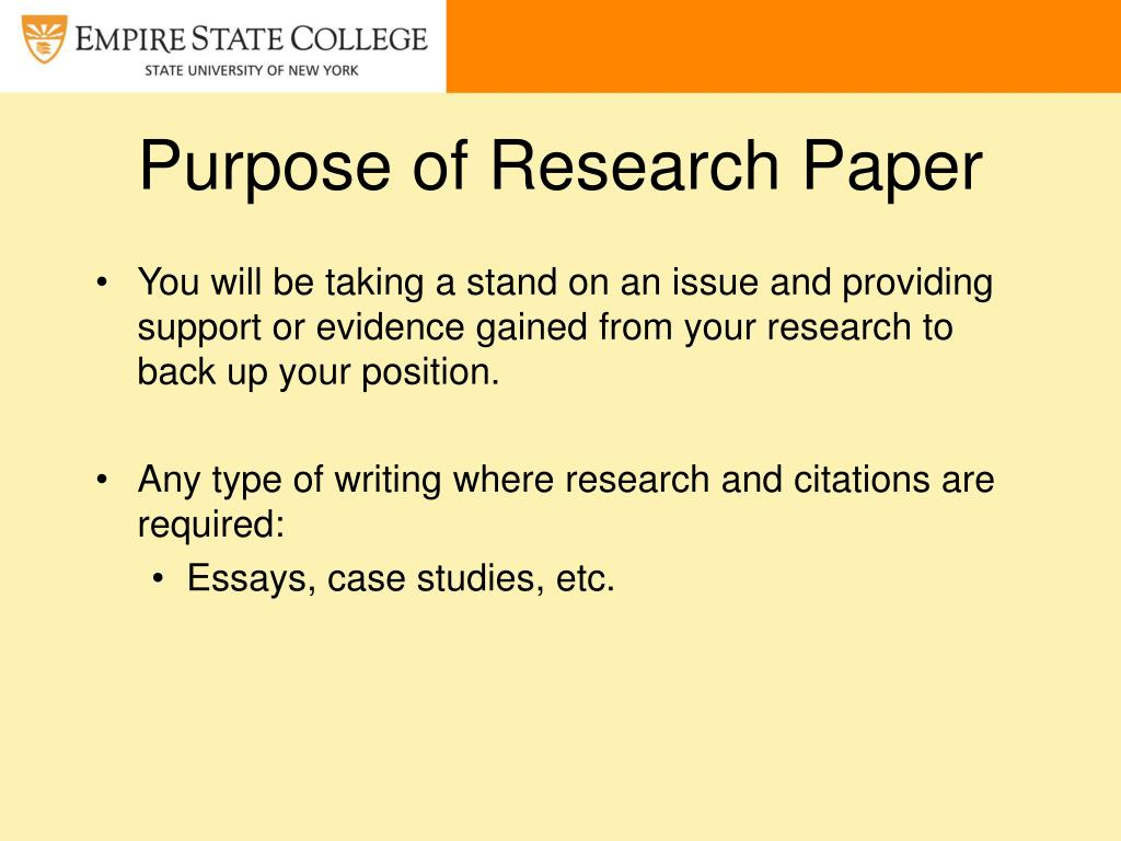 Purpose Of The Research Paper