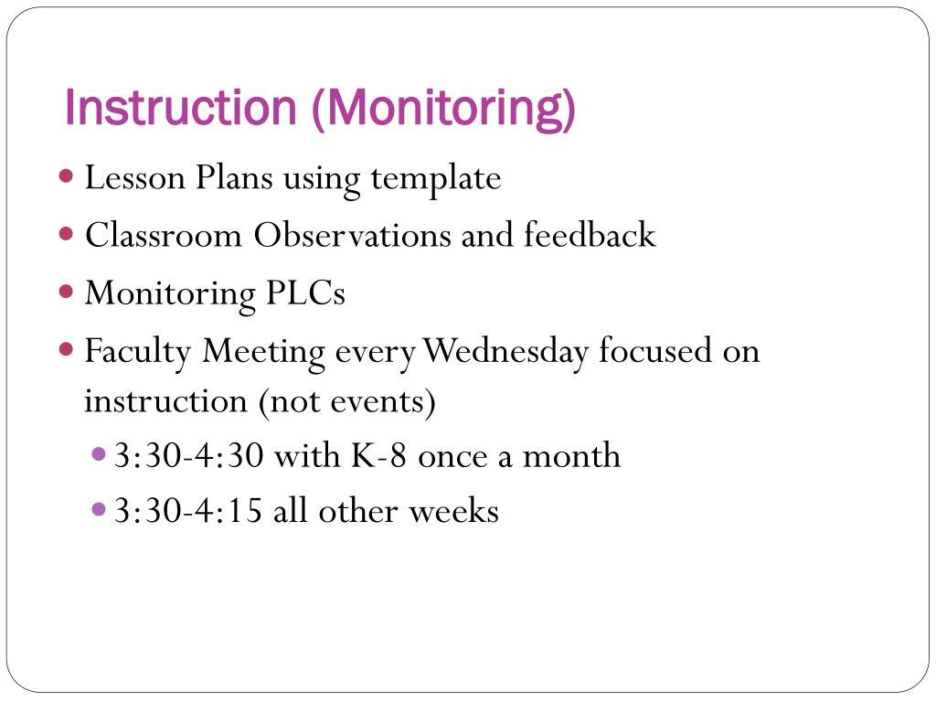 Instruction (Monitoring)