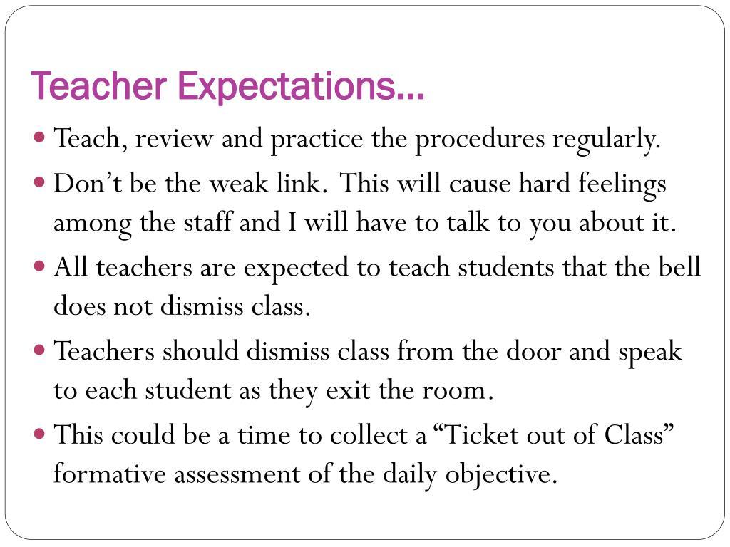 Teacher Expectations…