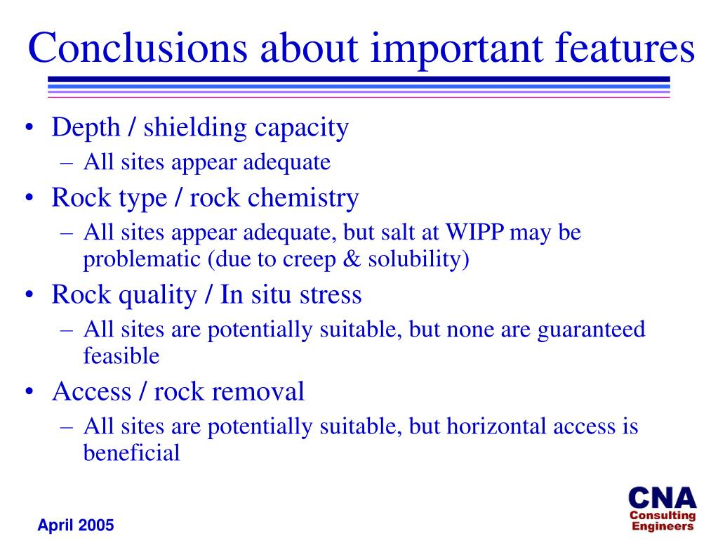 Conclusions about important features