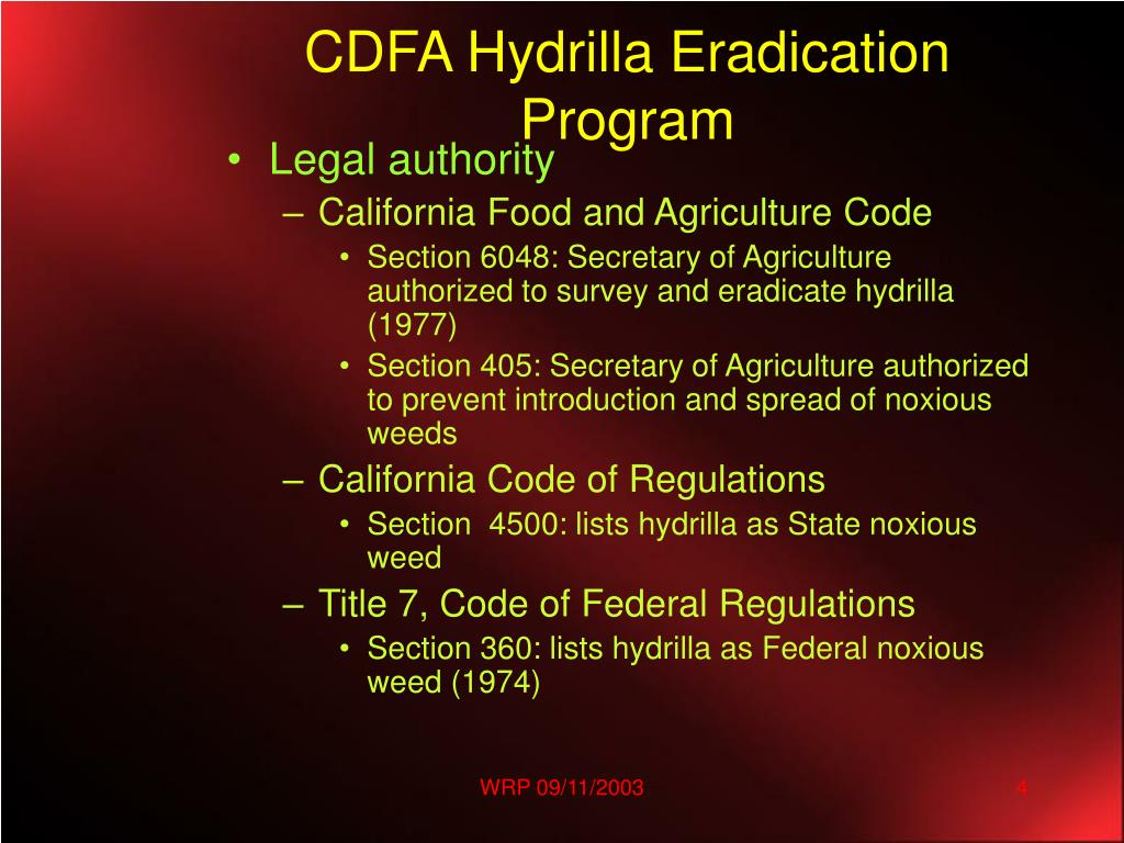CDFA Hydrilla Eradication Program