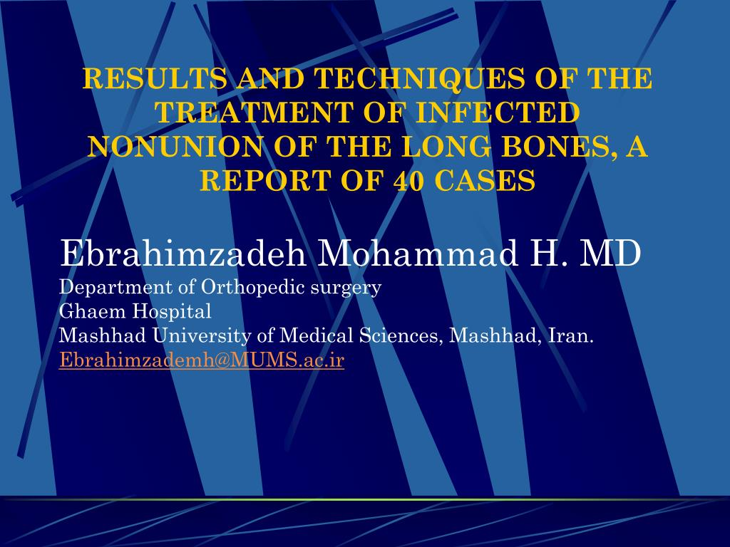 results and techniques of the treatment of infected nonunion of the long bones a report of 40 cases l.