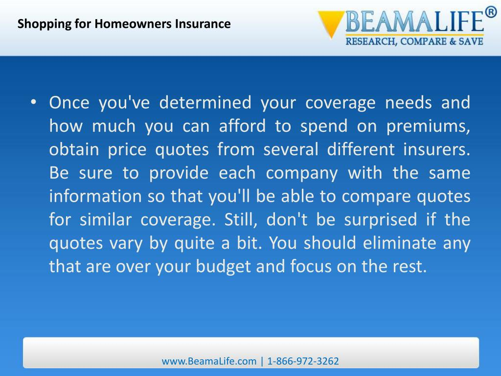 Shopping for Homeowners Insurance