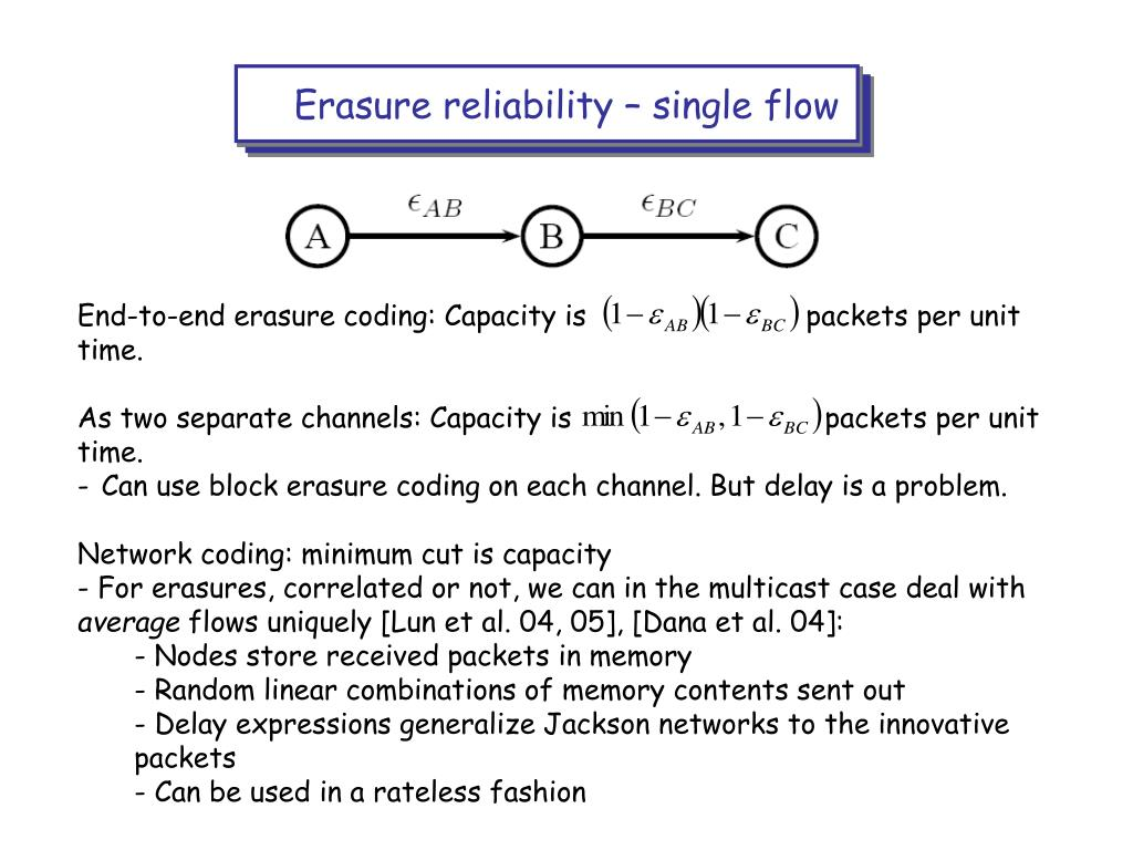 Erasure reliability – single flow