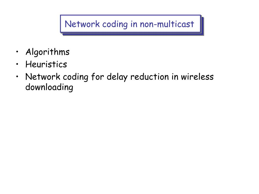 Network coding in non-multicast