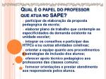 qual o papel do professor que atua no sape
