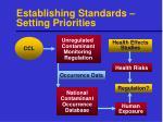 establishing standards setting priorities