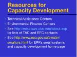 resources for capacity development