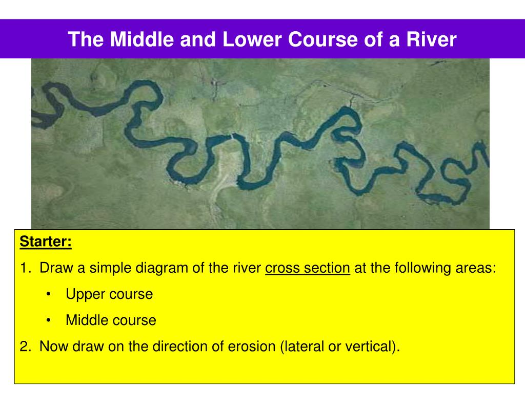 the middle and lower course of a river l.