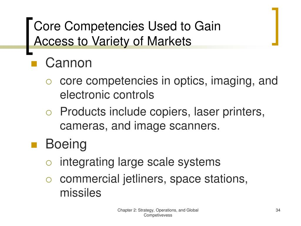 Core Competencies Used to Gain Access to Variety of Markets