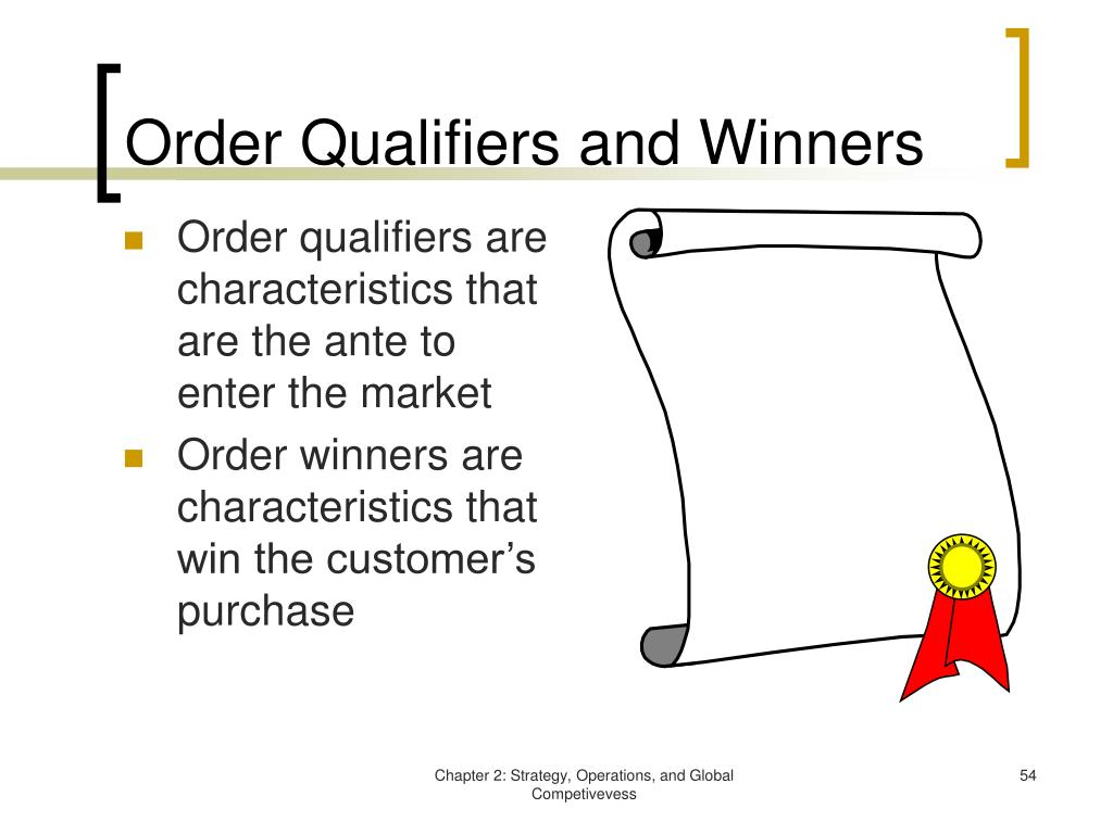 Order Qualifiers and Winners