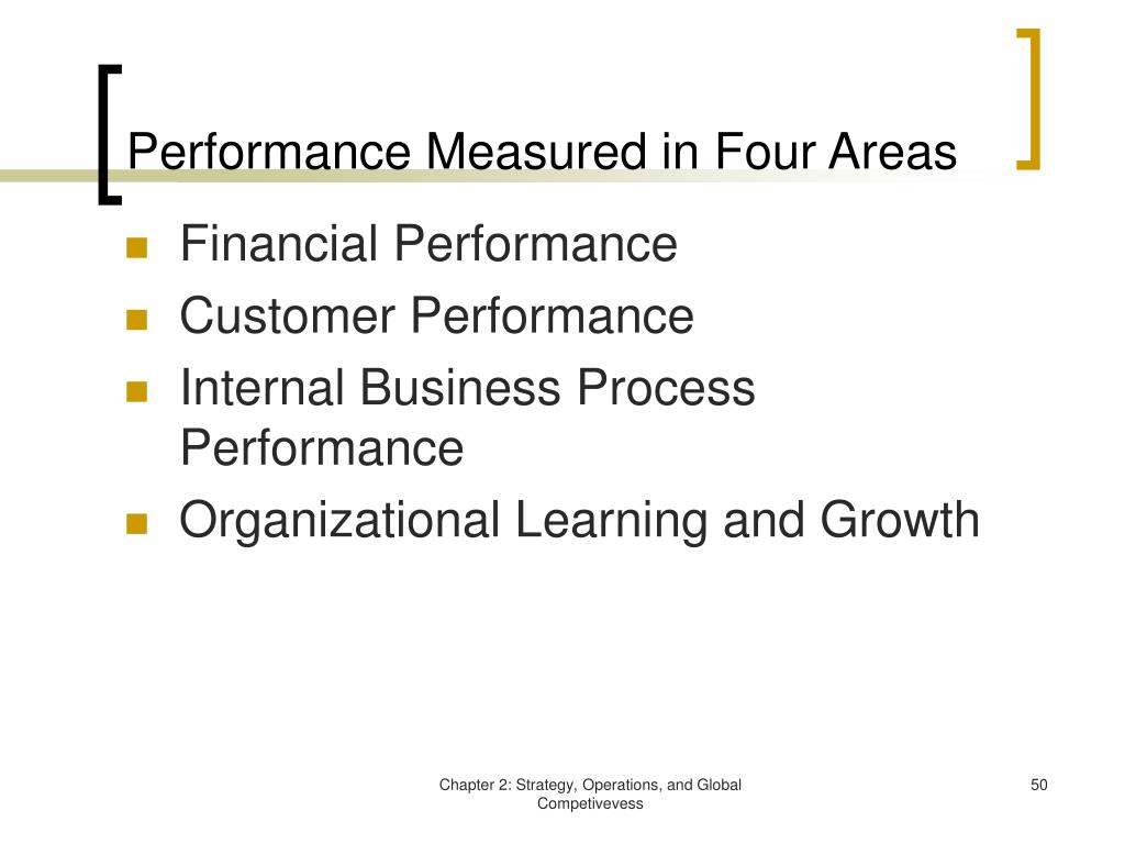 Performance Measured in Four Areas