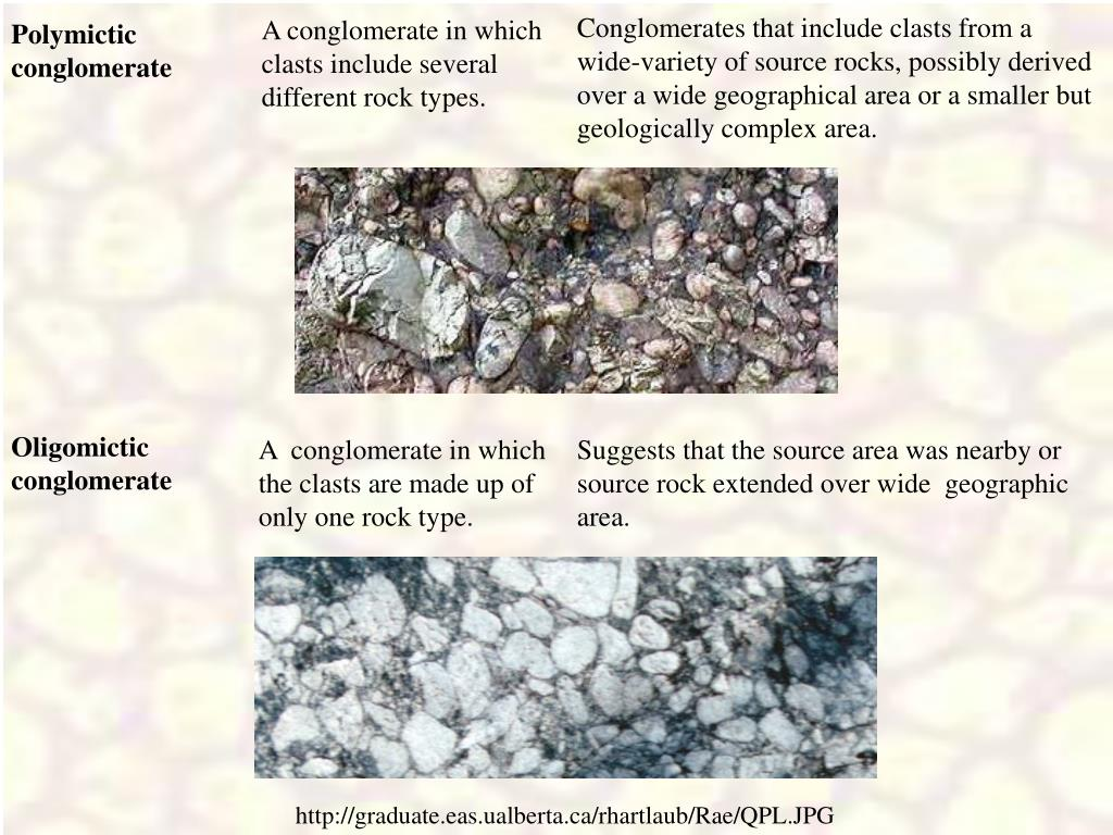 A conglomerate in which clasts include several different rock types.