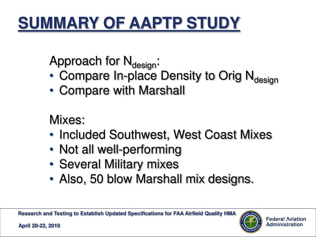 SUMMARY OF AAPTP STUDY