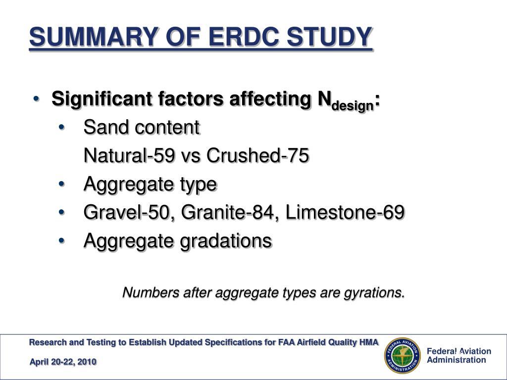 SUMMARY OF ERDC STUDY