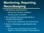 monitoring reporting recordkeeping