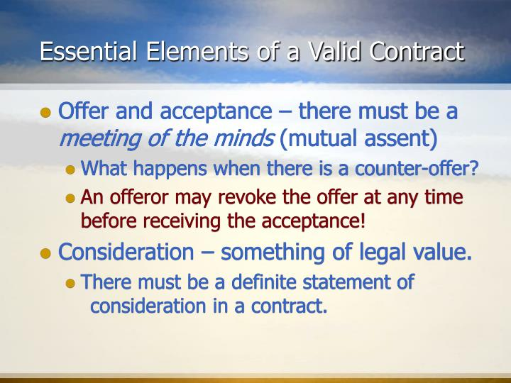 essential elements of offer