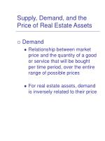 supply demand and the price of real estate assets