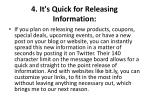 4 it s quick for releasing information