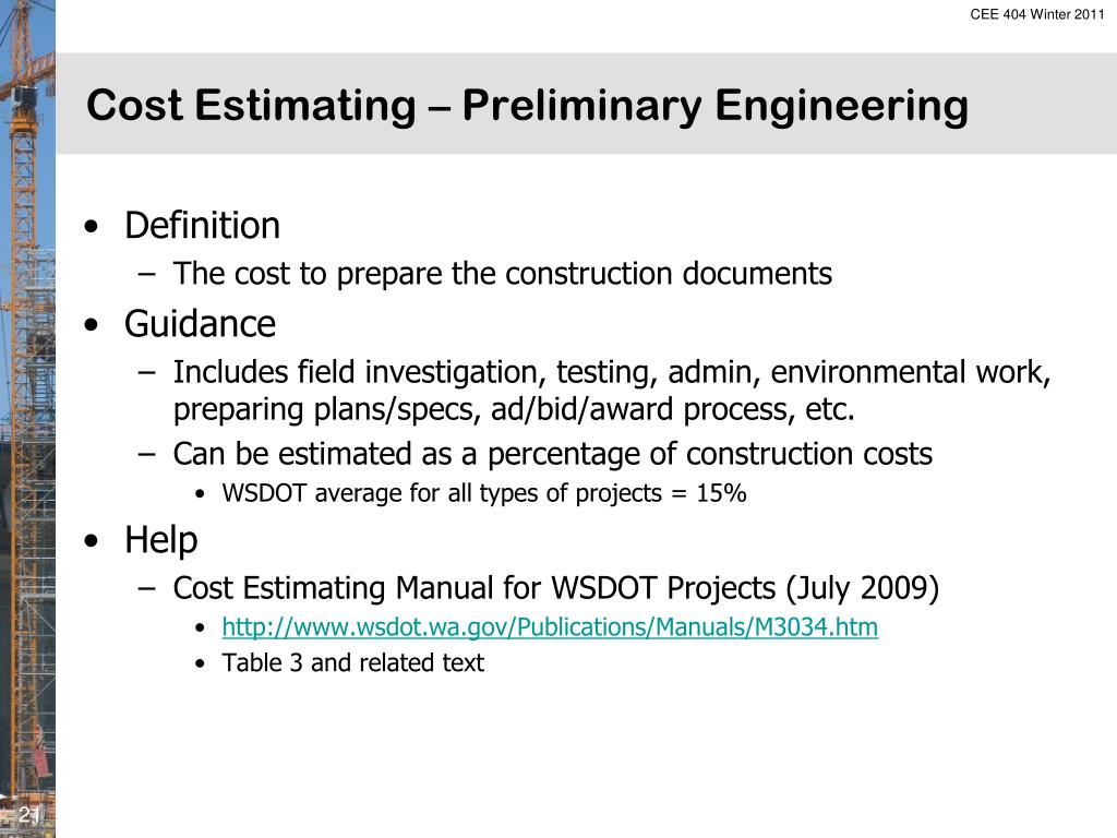 PPT - Cost Estimating PowerPoint Presentation - ID:309744