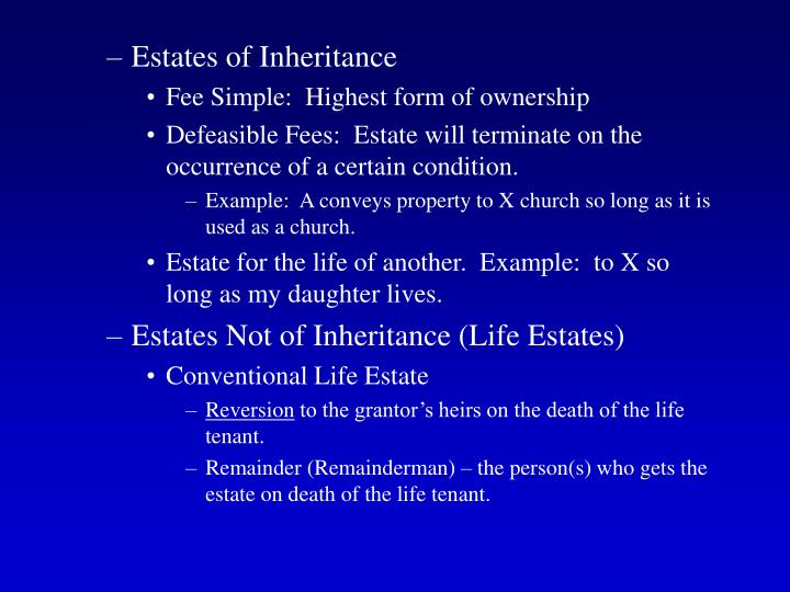 Estates of Inheritance
