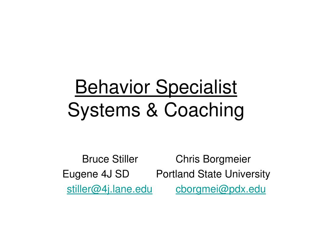 behavior specialist systems coaching