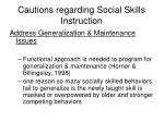 cautions regarding social skills instruction50