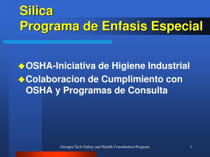 silica programa de enfasis especial n.