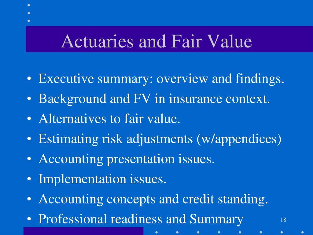 Actuaries and Fair Value