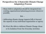 perspectives on a statewide climate change adaptation process