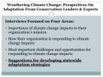 weathering climate change perspectives on adaptation from conservation leaders experts