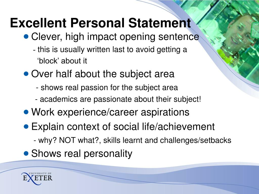 Excellent Personal Statement