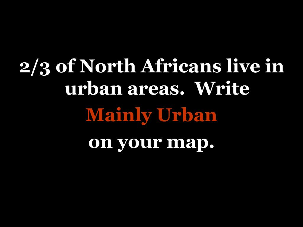 2/3 of North Africans live in urban areas.  Write