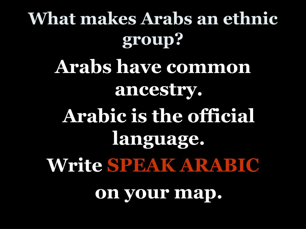 What makes Arabs an ethnic group?