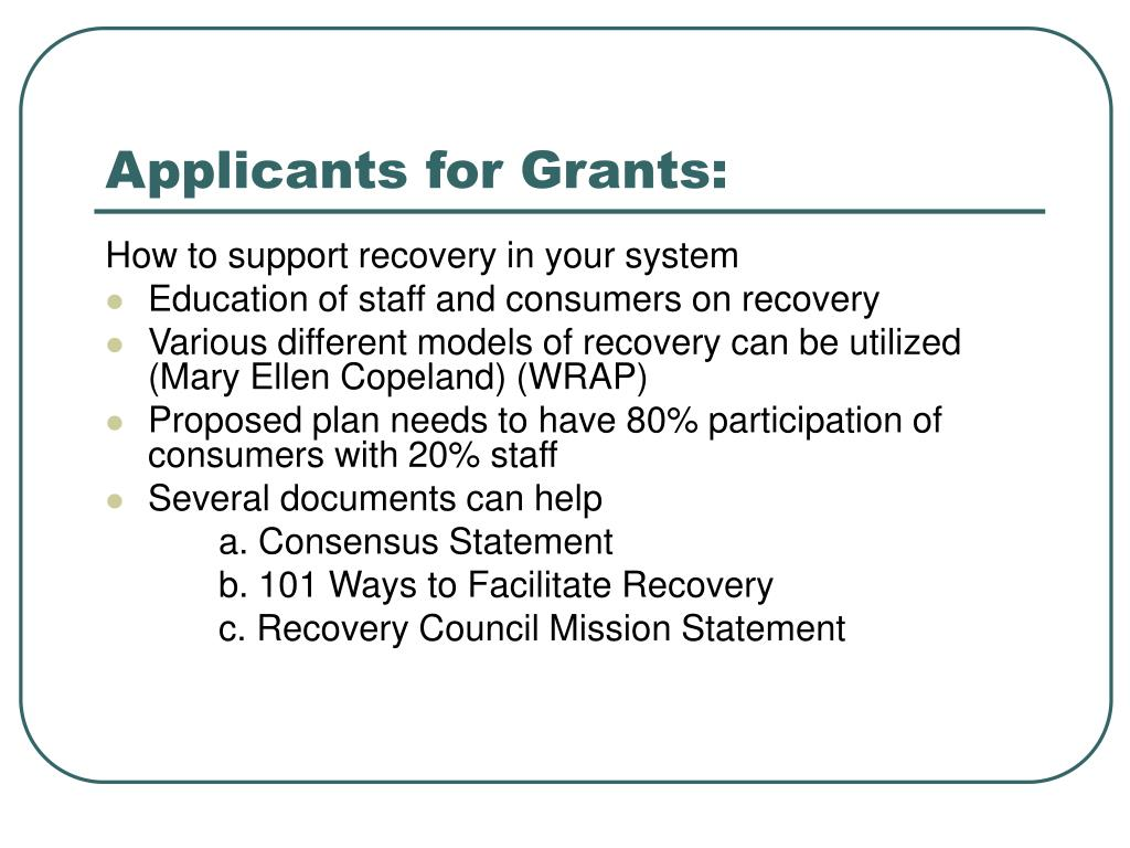 Applicants for Grants: