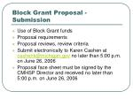 block grant proposal submission