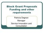 block grant proposals funding and other requirements