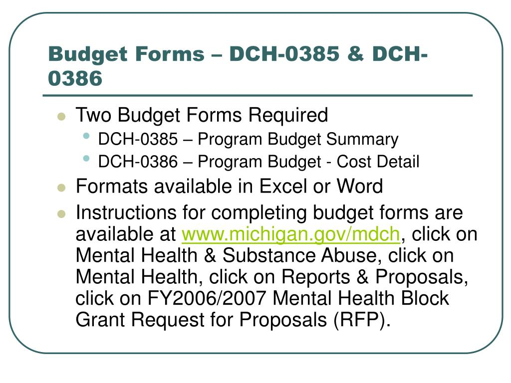 Budget Forms – DCH-0385 & DCH-0386