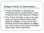 budget points to remember101