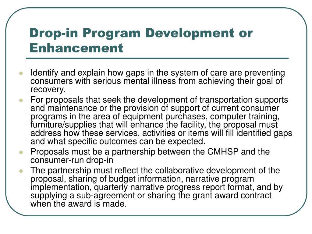 Drop-in Program Development or Enhancement