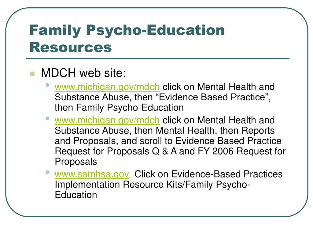 Family Psycho-Education Resources