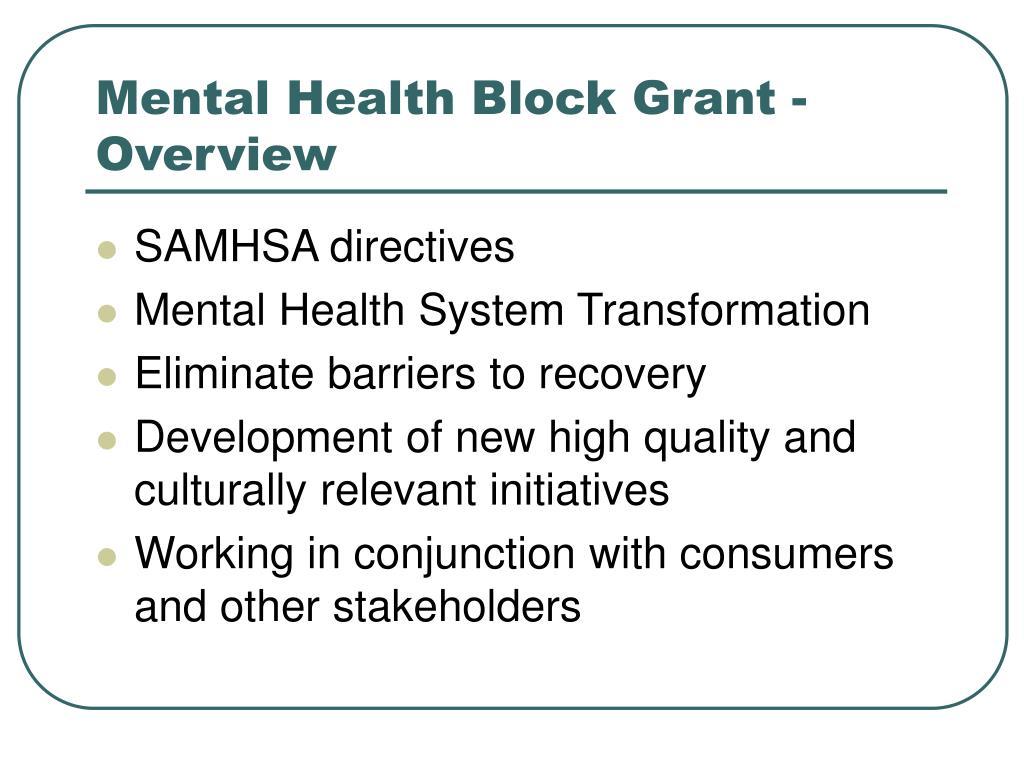 Mental Health Block Grant - Overview
