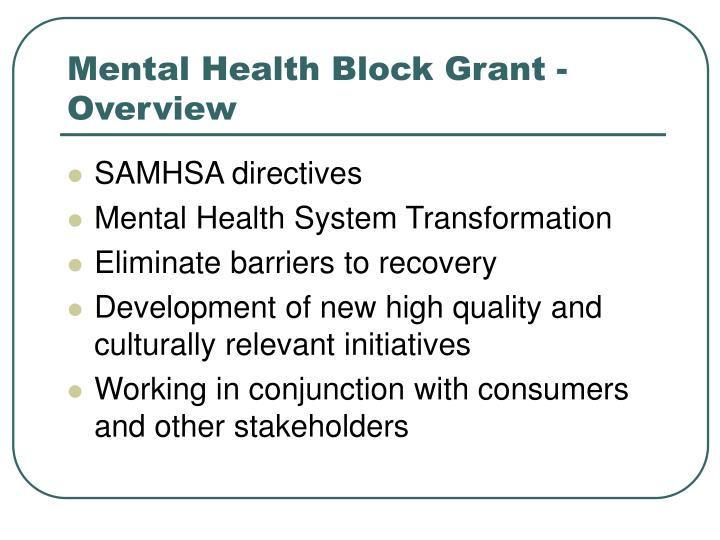 Mental health block grant overview