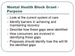mental health block grant purpose