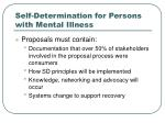 self determination for persons with mental illness