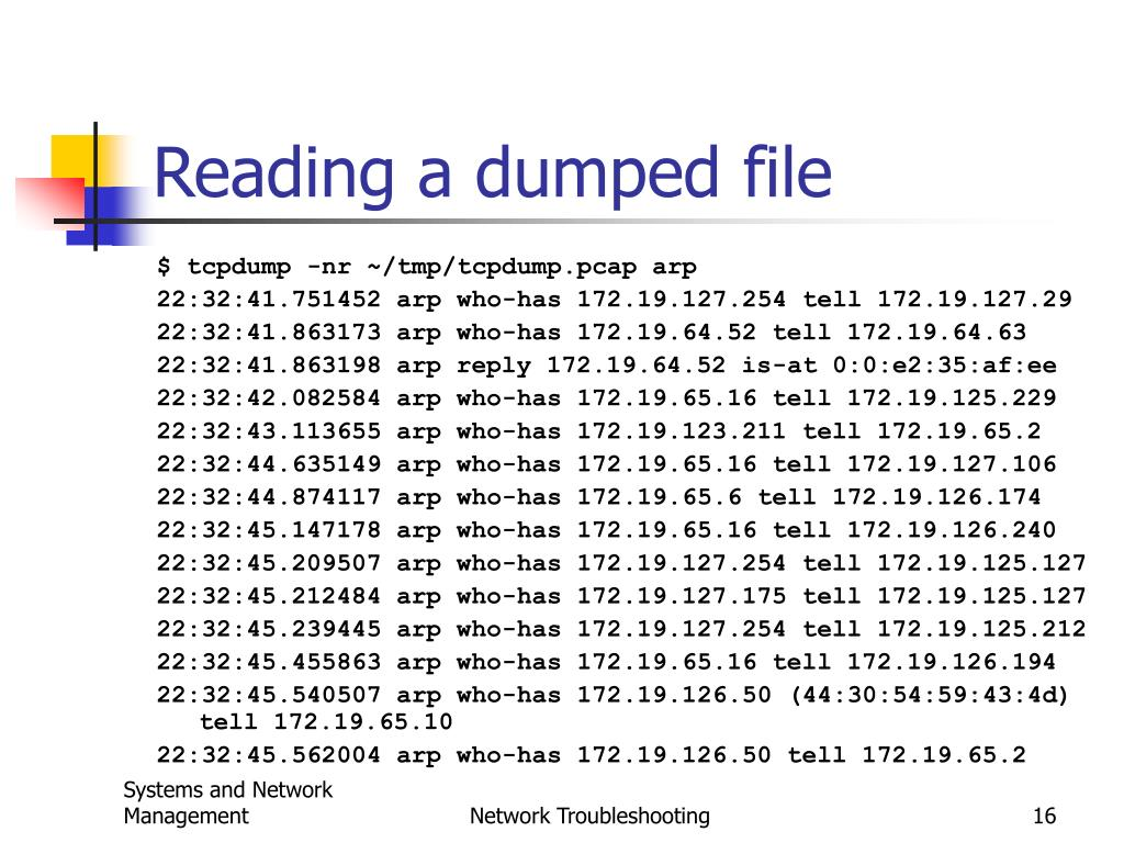 Reading a dumped file